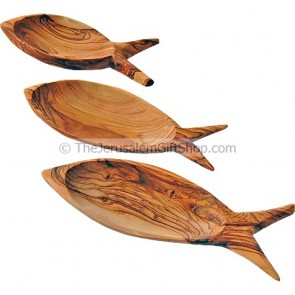 Set of 3 Fish Dishes in Olive Wood