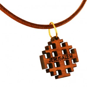 Olive Wood 'Jerusalem Cross' on Leather Necklace