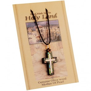 Olive Wood with Mother of Pearl and Abalone Two-Tone 'Cross' inlay Necklace - Made in the Holy Land
