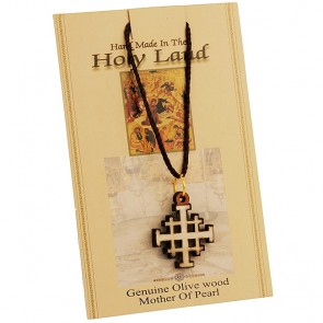 Olive Wood with Mother of Pearl 'Jerusalem Cross' inlay Necklace - Made in the Holy Land