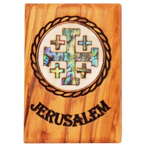 Fridge Magnet - Olive Wood with Mother of Pearl 'Jerusalem Cross' Inlay - Made in Bethlehem