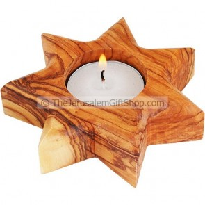 Olive Wood 7 Pointed Star Candle Holder