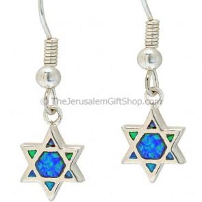 Opal Star of David Earrings