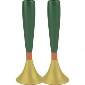 Yair Emanuel Modern Shabbat Anodized Aluminum Candle Holders - Green & Gold