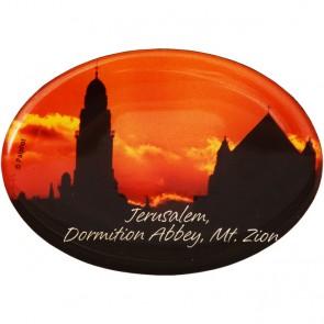 Oval 'Dormition Abbey, Mt. Zion' Fridge Magnet