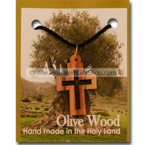 Olive Wood Cut-Out Double Cross Pendant with Necklace