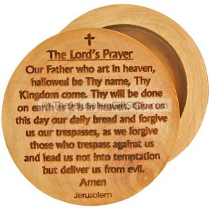 Pill Box Lord's Prayer Olive Wood