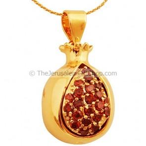 Goldfill Pomegranate with Garnets Pendant by Marina