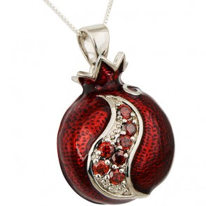 Enameled Pomegranate Pendant with Red Garnet by Marina