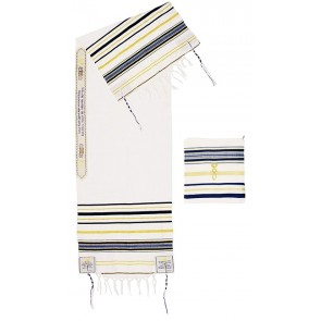 'Grafted In' Messianic Prayer Shawl Tallit - Blue and Gold