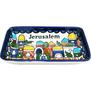 Armenian Ceramic Rectangle Jerusalem Dish