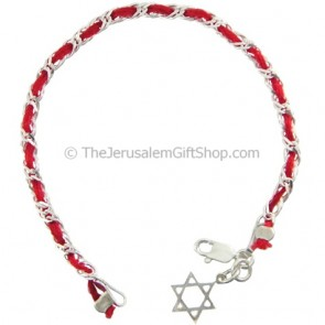Red String and Silver Star of David Bracelet