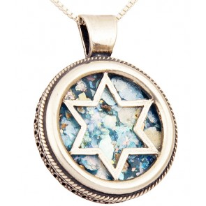 Roman Glass 'Star of David' Round Sterling Silver Pendant - Made in Israel