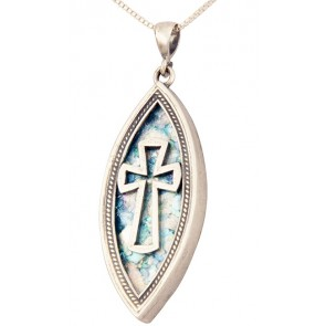 Roman Glass 'Cross' Ellipse Pendant - 925 Sterling Silver - Made in the Holy Land