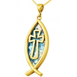 Roman Glass 'Cross inside a Fish' Pendant - 14k Gold - Made in the Holy Land