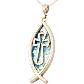 Roman Glass 'Cross inside a Fish' Pendant - Sterling Silver - Made in the Holy Land