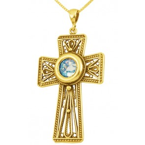 Roman Glass - Radiant 'Cross' Pendant - 14k Gold - Made in the Holy Land