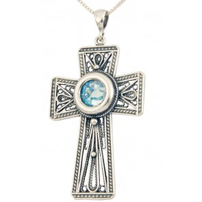 Roman Glass - Radiant 'Cross' Pendant - 925 Sterling Silver - Made in the Holy Land