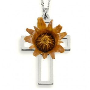 The Rose of Bethlehem Silver Cross Necklace