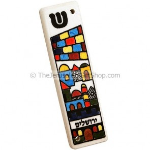Jerusalem Mezuzah with SHIN - Ceramic