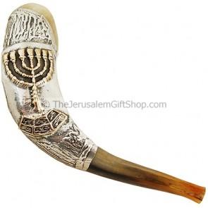Silver Menorah Shofar