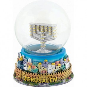 Snow Ball - Jerusalem with Menorah - Colored