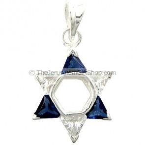 Star of David Blue Clear CZ