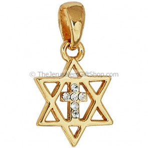 Cross with CZ stones inside Star of David - gold fill
