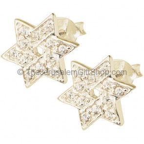 'Star of David' Studs with CZ Sterling Silver