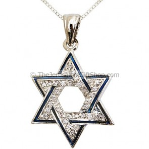 Star of David with CZ blue enamel
