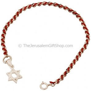 Red Cord with Silver Star of David Bracelet
