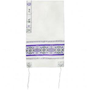 Jewish Symbols Tallit - Purple with Silver Thread Prayer Shawl