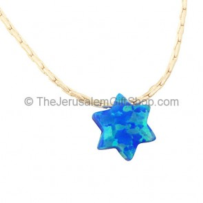 Star of David Opal Silver Necklace