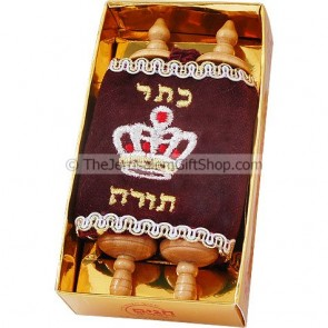 Torah Scroll - Small in Burgundy Velvet