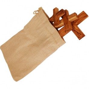 The Holy Trinity Olive Wood Cross Set in Sackcloth Gift Bag