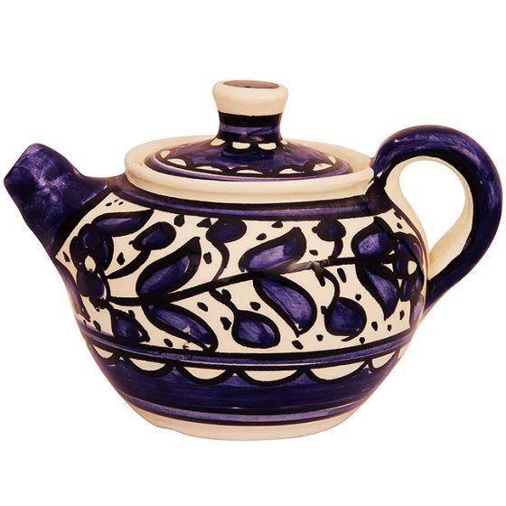 Armenian Ceramic Teapot from Jerusalem - Handmade - Blue Flower Design
