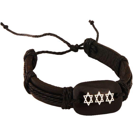 Leather Button 'Star of David' Bracelet