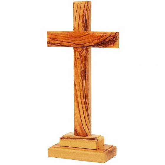 Olive Wood Standing Cross - Made in Bethlehem - 3 Sizes