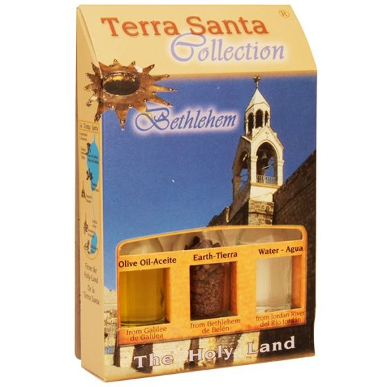 Terra Santa Collection - Holy Land Elements Gift Pack 'Bethlehem' with Olive Oil, Earth and Water
