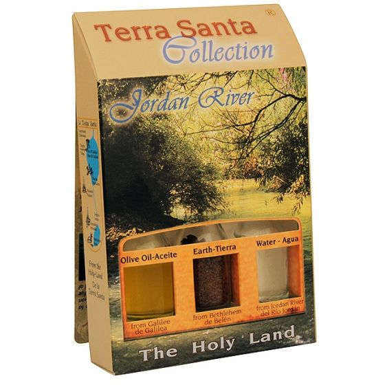 Terra Santa Collection - Holy Land Elements Gift Pack - Jordan River - Olive Oil, Earth and Water