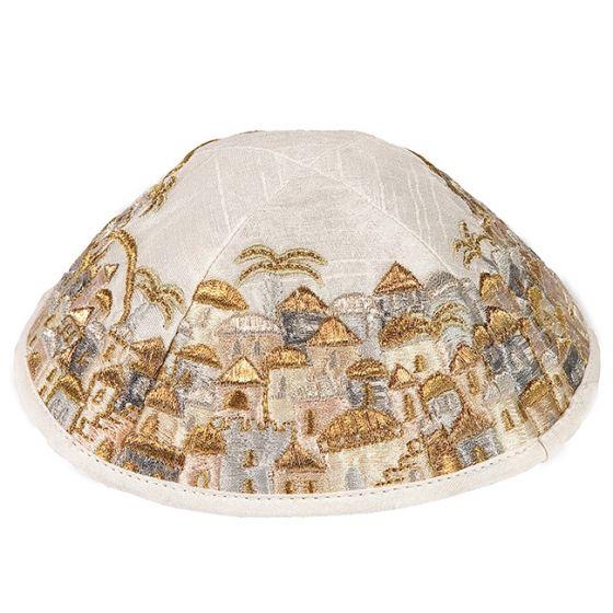 Yair Emanuel | Jerusalem of Gold Embroidered Kippah | Gold