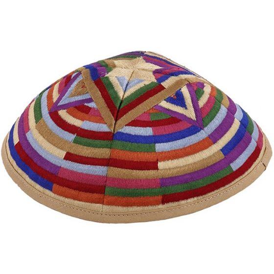 Yair Emanuel - Star of David Embroidered Block Pattern Kippah / Yarmulke - Multicolor