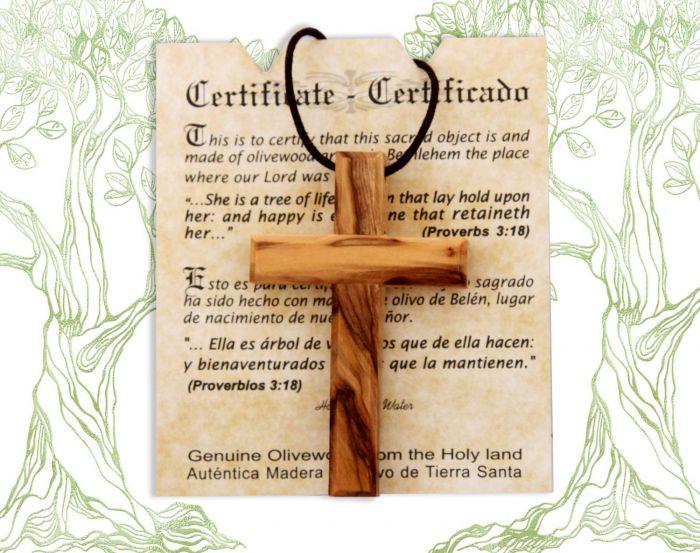 Handmade Natural Olive Wood Cross Pendant