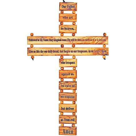 The Lord's Prayer Olive Wood Cross Wall Hanging