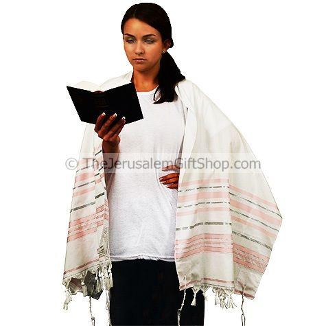 Ladies Tallit - Pink and Silver Prayer Shawl