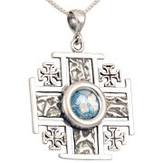Roman Glass 'Jerusalem Cross' Five-Fold Rugged Cross Pendant - Sterling Silver - Made in the Holy Land