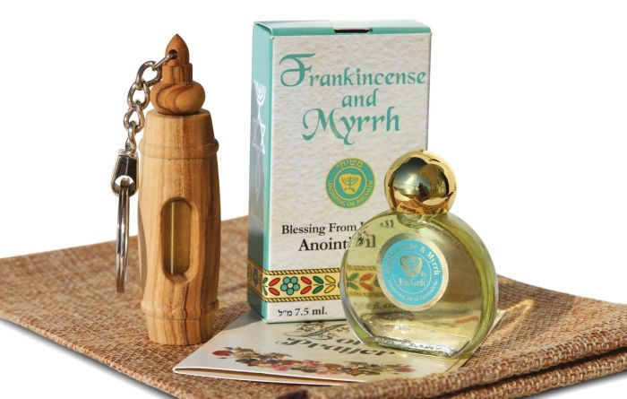 Olive Wood Keychain Frankincense and Myrrh Anointing Oil