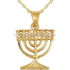 14 Carat Gold Menorah Pendant