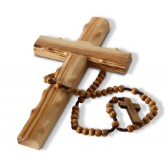 Olive Wood Cross with Rosary