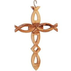 Olive Wood Cross made with Five Fish